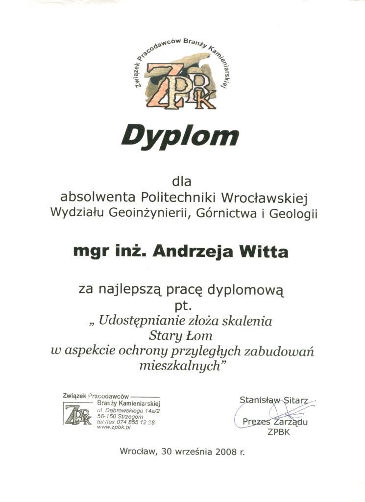 Dyplom za najlepszą pracę magiserską